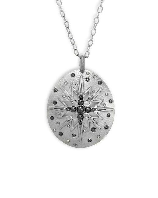 Bavna Metallic Champagne Diamond, Black Spinel & Silver Necklace