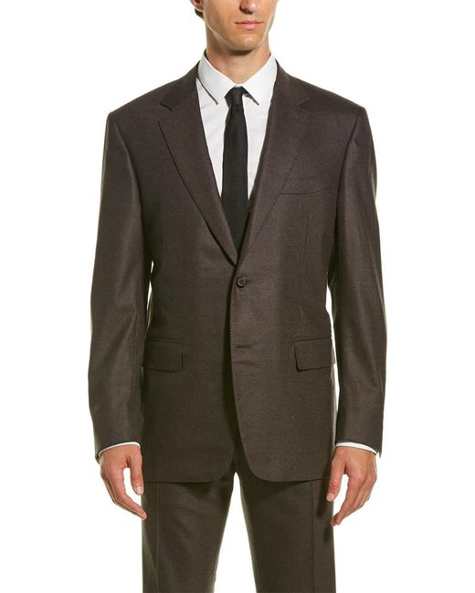 Canali Brown Wool-blend Suit With Flat Front Pant for men