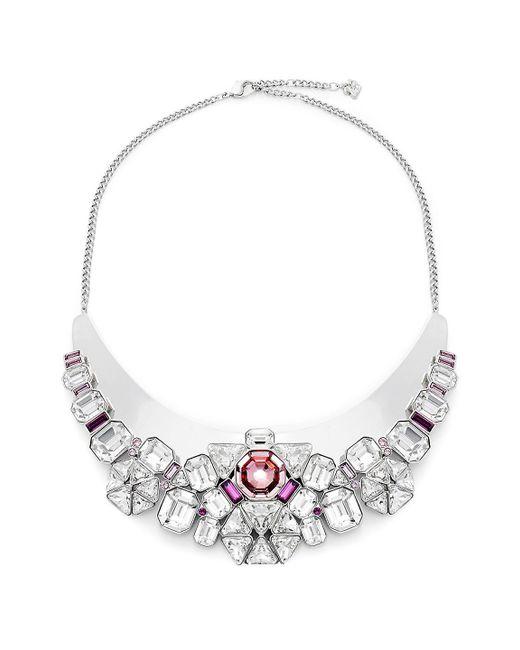 Swarovski - Metallic Clear & Pink Crystal Bib Necklace - Lyst