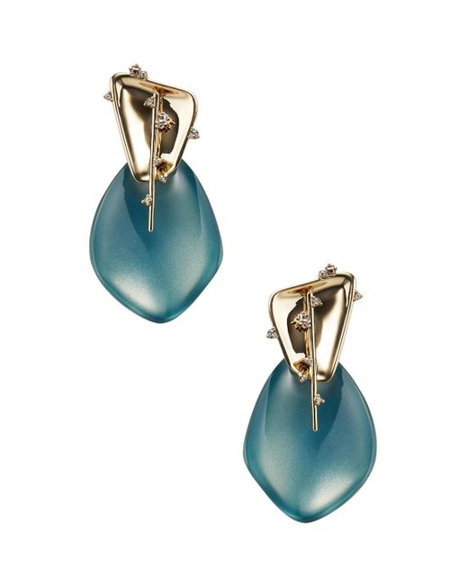 Alexis Bittar - Blue Lucite Liquid Metal Crystal Spike Drop Earrings - Lyst