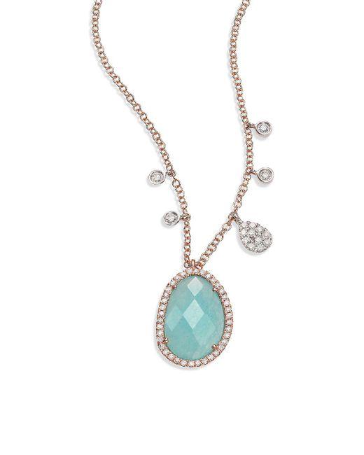 Meira T - Metallic Light Amazonite, Diamond, 14k Rose Gold & 14k White Gold Pendant Necklace - Lyst
