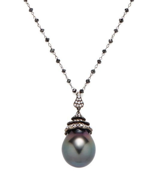 Tara Pearls | Metallic Tahitian Pearl & Diamond Station Pendant Necklace | Lyst
