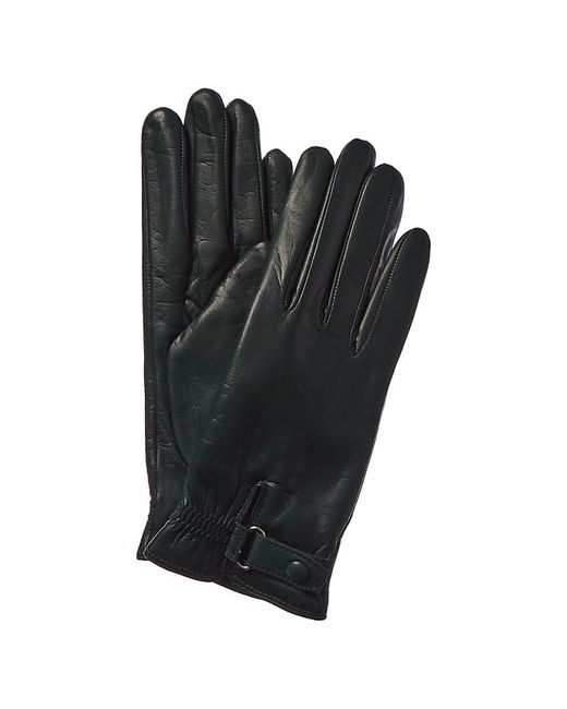 Portolano Green Belted Cashmere-lined Leather Gloves