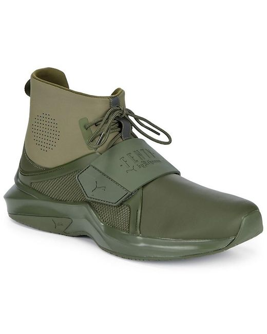 uk availability 33d81 09864 Men's Green Fenty X The Trainer High-top Sneaker