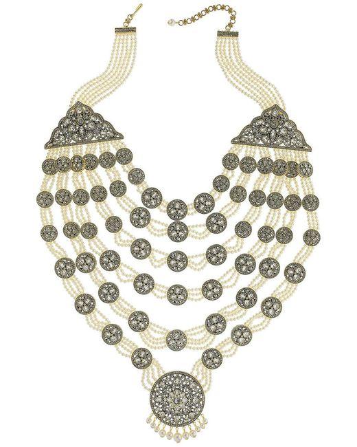 Heidi Daus Metallic Crystal, Pearl, & Crystal Necklace