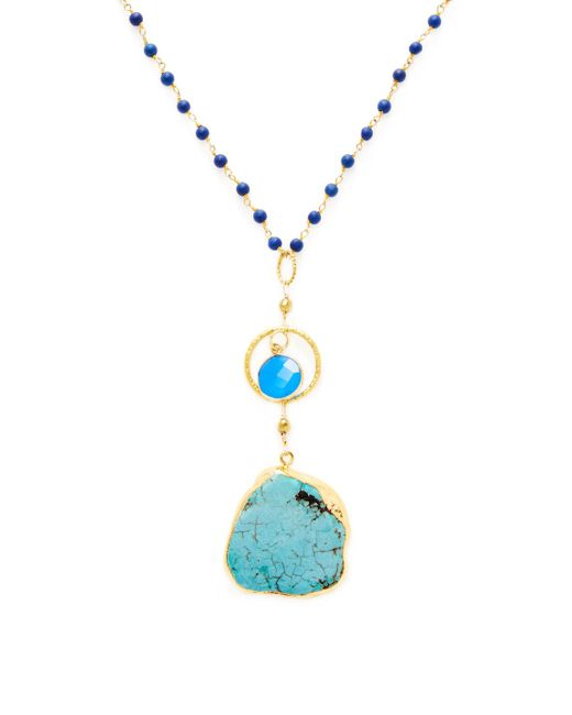 Alanna Bess Jewelry - Multicolor Chalcedony & Turquoise Pendant Necklace - Lyst