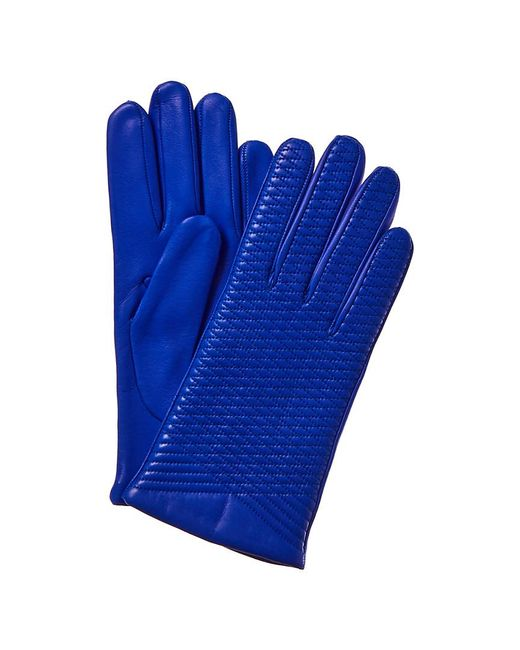 Portolano Blue Embroidered Wool & Cashmere-lined Leather Gloves