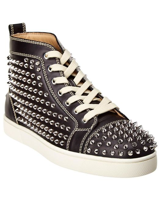Christian Louboutin - Black Louis Spike Embellished High Top Trainers for Men - Lyst