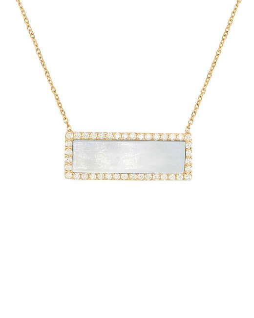 Gabi Rielle - Metallic 22k Over Silver Mother-of-pearl & Cz Rectangle Necklace - Lyst