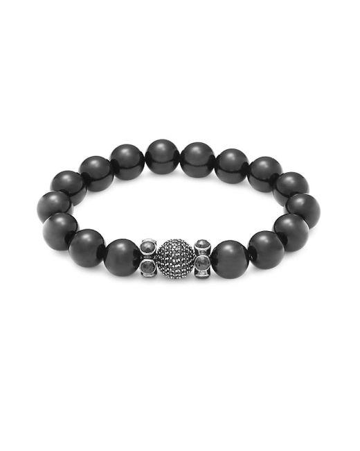 Bavna - Black Onyx, Black Spinel And Sterling Silver Beaded Bracelet - Lyst