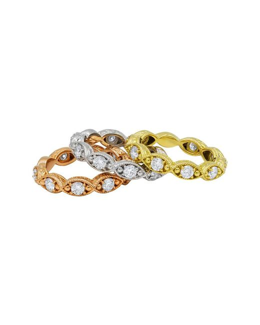 Diana M - Metallic . Fine Jewelry 18k Tri-tone 2.50 Ct. Tw. Diamond Eternity Ring Set - Lyst