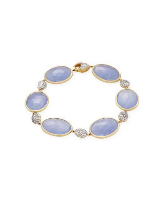 Marco Bicego - Multicolor 18k Yellow Gold 0.62 Tcw Diamond And Chalcedony Bracelet - Lyst