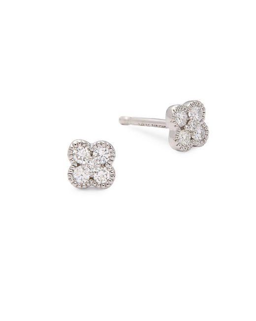 KC Designs | Metallic Diamond And 14k White Gold Clover Stud Earrings | Lyst