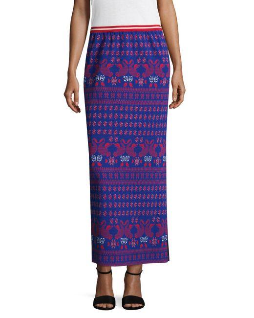 Anna Sui - Purple Swan Intarsia Maxi Skirt - Lyst