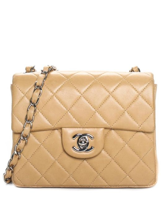 c717337d5645 Chanel - Natural Beige Quilted Lambskin Leather Mini Single Flap Bag - Lyst  ...
