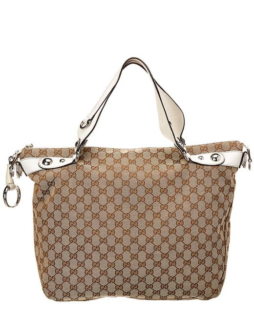 6a304b76fcc3 Lyst - Gucci Brown GG Canvas & White Leather Icon Bit Tote in Brown ...