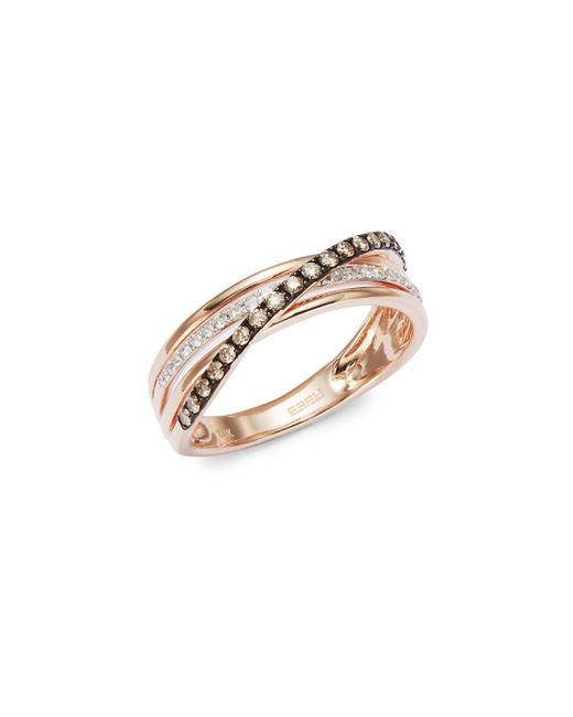 Effy - Pink 14k Rose Gold And Diamond Crossover Ring - Lyst