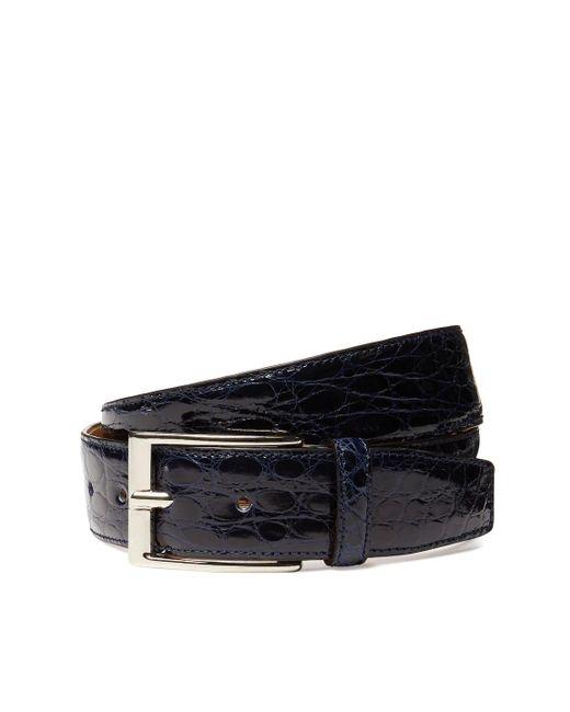 Leone Braconi - Blue Crocodile Leather Belt for Men - Lyst