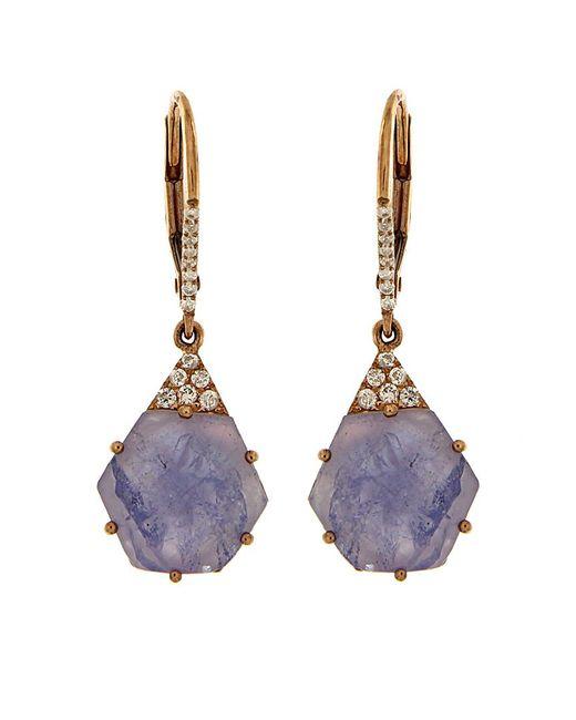 Meira T - Multicolor 14k Rose Gold 5.92 Ct. Tw. Diamond & Tanzanite Drop Earrings - Lyst