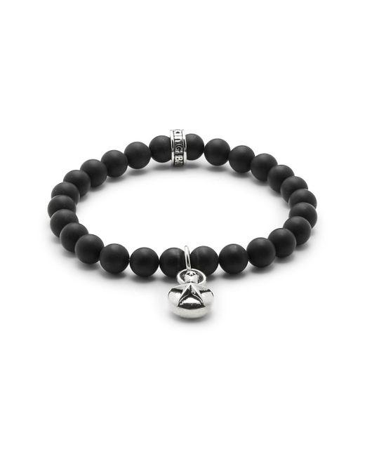 King Baby Studio - Metallic Silver Star & 8mm Onyx Beaded Charm Bracelet - Lyst