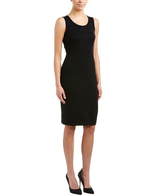 St. John - Black Wool-blend Sheath Dress - Lyst