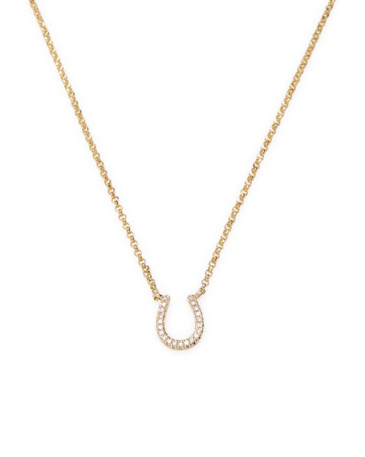 CR By Casa Reale   Metallic Diamond Horseshoe Necklace   Lyst