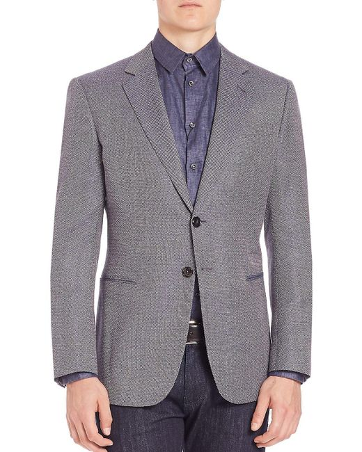 Giorgio Armani - Gray Micro Check Wool Sportscoat for Men - Lyst