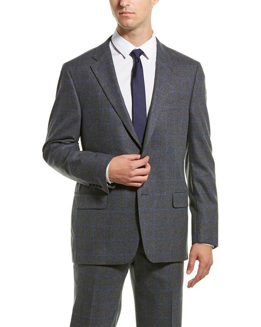 Hickey Freeman Gray 2pc Milburn Ii Wool & Cashmere-blend Suit With Flat Pant for men