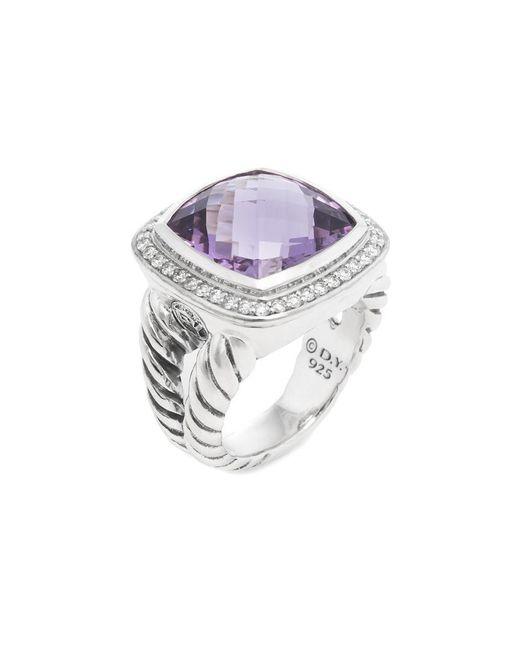 David Yurman - Metallic David Yurman Silver 14.35 Ct. Tw. Diamond & Amethyst Ring - Lyst