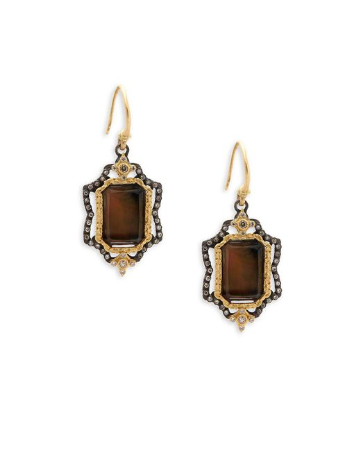 Armenta - Brown Mother-of-pearl, Diamond, Quartz And 18k Yellow Gold Drop Earrings - Lyst