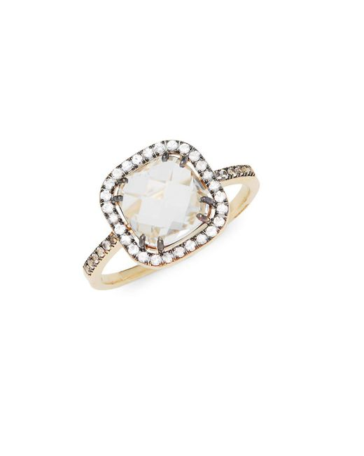 Suzanne Kalan - Metallic White Moonstone, Champagne Diamond And 14k Yellow Gold Ring - Lyst