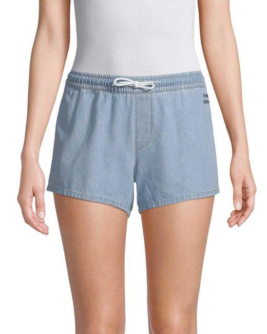 Être Cécile - Blue Denim Drawstring Shorts - Lyst ...