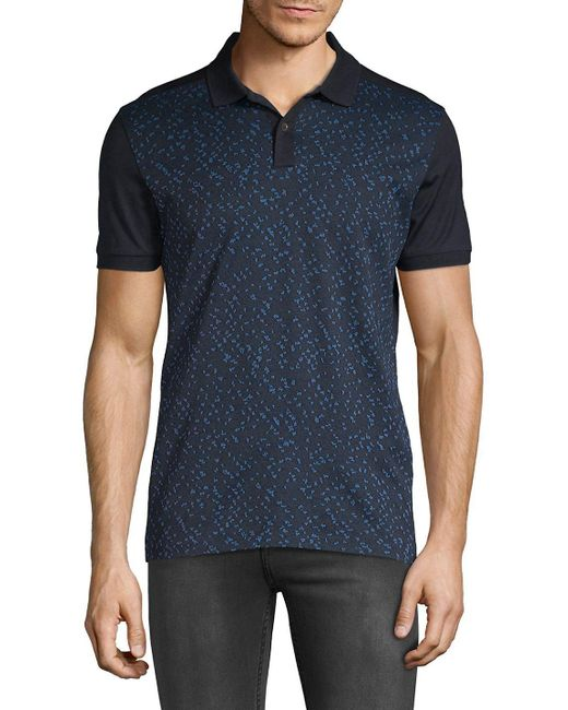 BOSS - Blue Phillipson Printed Cotton Polo for Men - Lyst