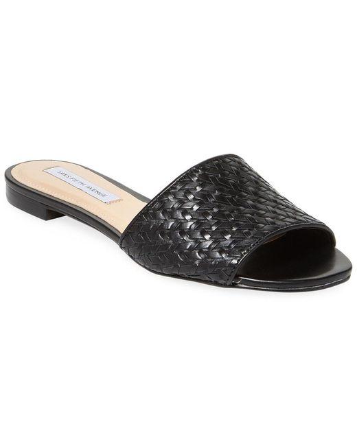 Saks Fifth Avenue - Black Woven Leather Slides - Lyst