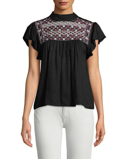 Raga - Black Diana Embroidered Yoke Top - Lyst
