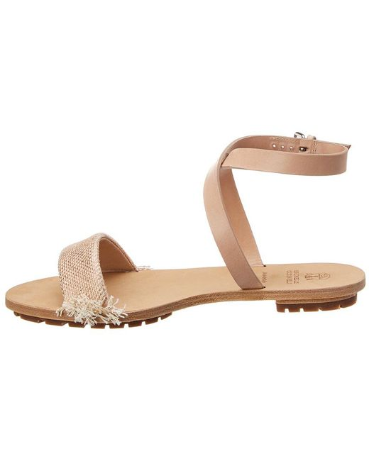 060fd8dbefa ... Brunello Cucinelli - Natural Leather Ankle Wrap Sandal - Lyst ...