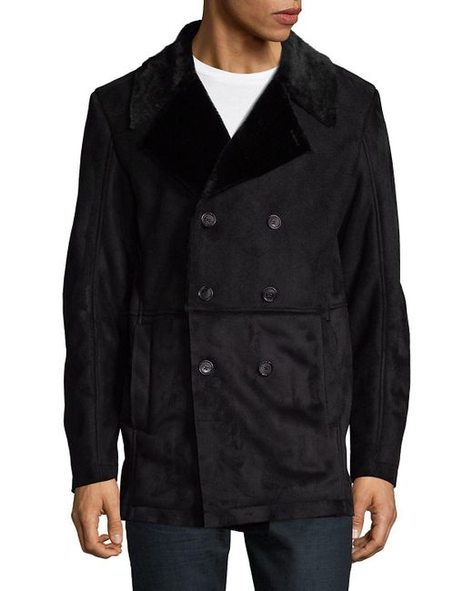 CALVIN KLEIN 205W39NYC - Black Faux Fur Double Breasted Jacket for Men - Lyst