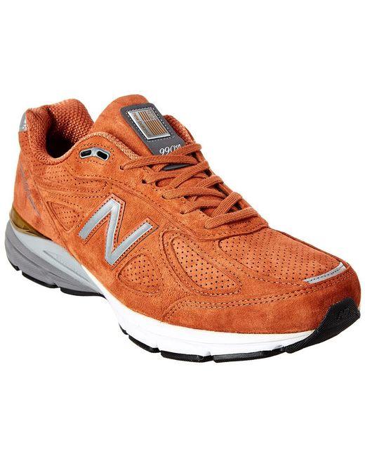 new arrival dfb18 190d6 Men's Orange 990 V4 Suede Sneaker