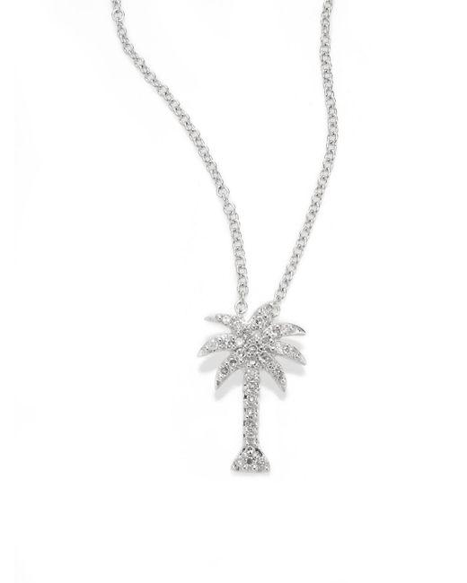 Effy - Metallic Diamond & 14k White Gold Palm Tree Pendant Necklace - Lyst