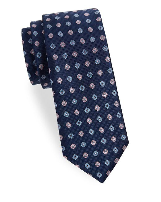 Saks Fifth Avenue - Blue Two-tone Floral Silk Tie for Men - Lyst