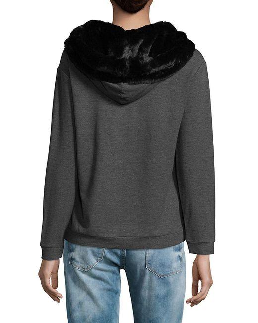 Saks fifth avenue Faux Fur Pullover Hoodie | Lyst
