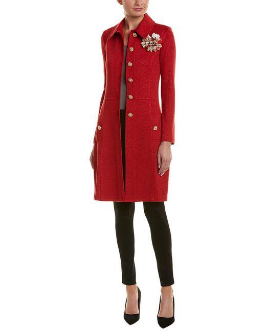 St. John - Red Wool-blend Topper - Lyst
