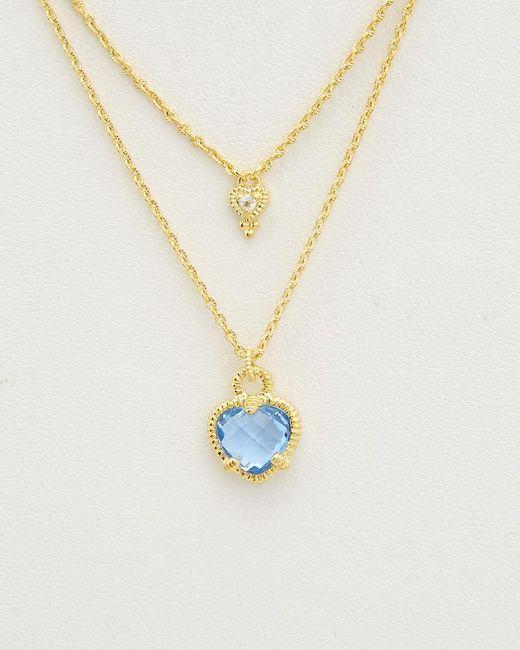 Judith Ripka - Metallic 14k Over Silver 4.80 Ct. White Topaz Double Strand Heart Necklace - Lyst