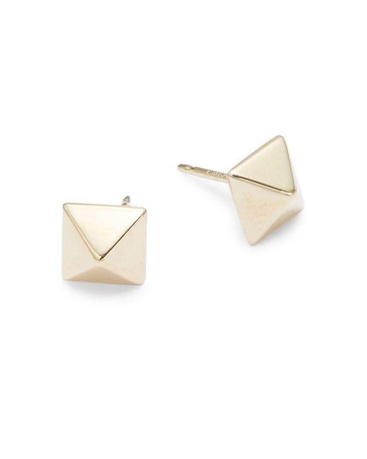 Saks Fifth Avenue - Metallic 14k Yellow Gold Pyramid Stud Earrings - Lyst