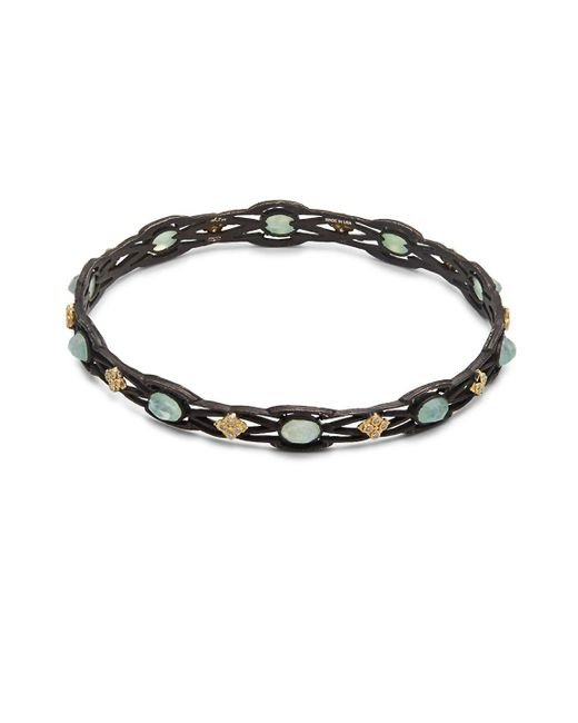 Armenta - Metallic Old World White Diamond, Chrysoprase, Rainbow Moonstone & 18k Goldplated Sterling Silver Bangle - Lyst