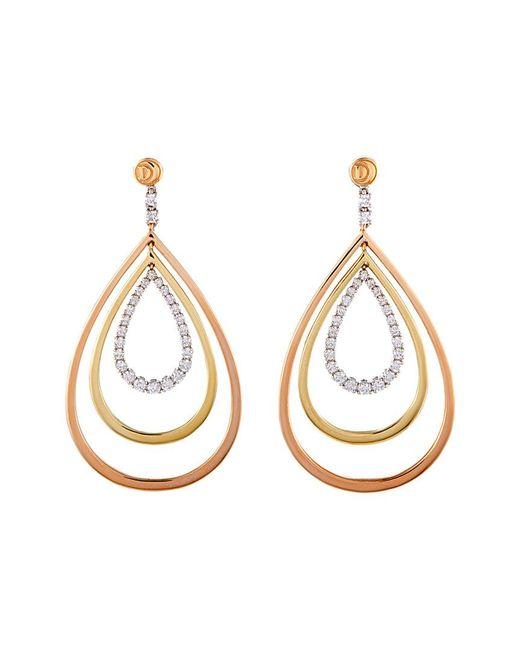 Damiani - Metallic 18k Tri-tone 1.09 Ct. Tw. Diamond Drop Earrings - Lyst