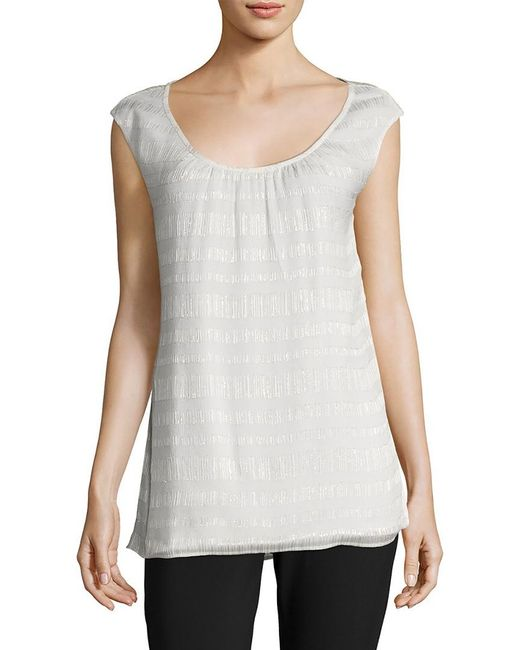 St. John - White Metallic Striped Silk Crinkle Tank - Lyst