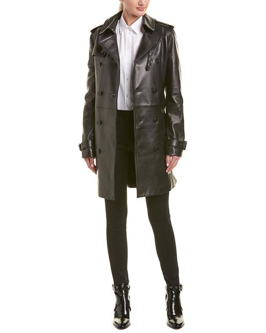 street price brand quality amazing quality Women's Black Belted Leather Trench Coat