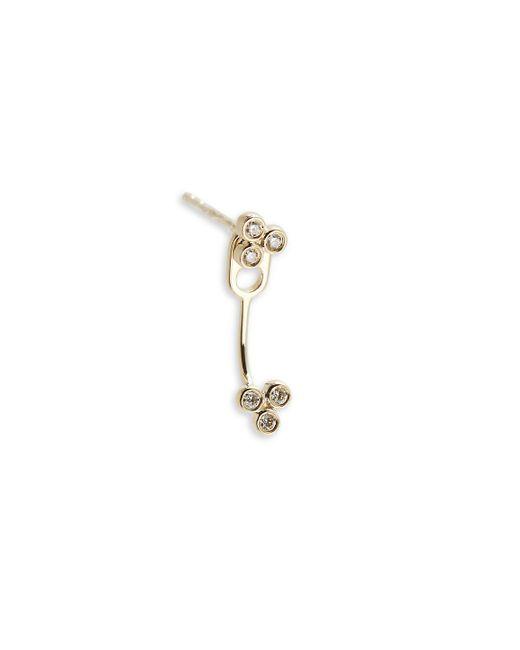 EF Collection - Metallic White Diamond & 14k Yellow Gold Double Bezel Ear Jackets - Lyst