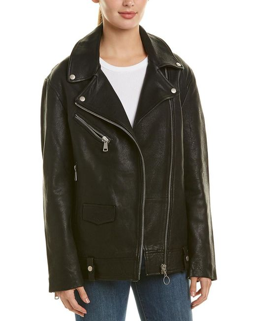 Bagatelle - Black Nyc Oversized Leather Biker Jacket - Lyst